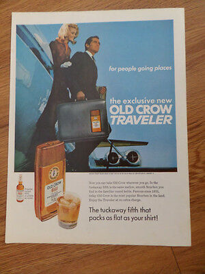 1967 New Old Crow Traveler Whiskey Ad   For People Going Places