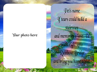 Personalised Rainbow Bridge Pet Memorial Photo Frame with a Saying-Dog-Cat