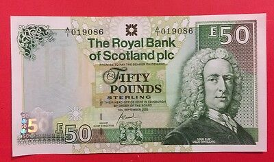 Rare Rbs  £50 Note 14/9/05 Low Number. Goodwin Unc.