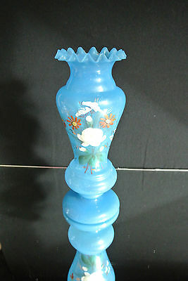 Vintage Blue Bristol Glass Vase Hand Painted