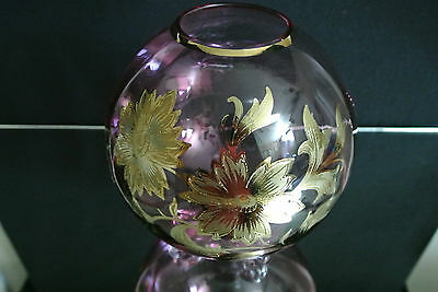 Cranberry Crystal Footed Rose Bowl Czechoslovakia
