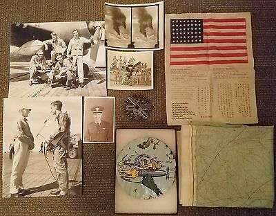 WWII VC-84 Navy Composite Squadron Grouping Patch Blood Chit Silk Map Photos