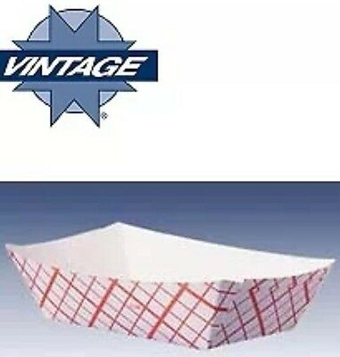 25ct Food Trays 4 oz Baskets Boats Plaid Printed Paper Cardboard Concession NEW