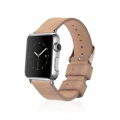 Monowear Leather Band - Beige for 38MM Apple Watch (Series 1 & 2) - Matte Silver