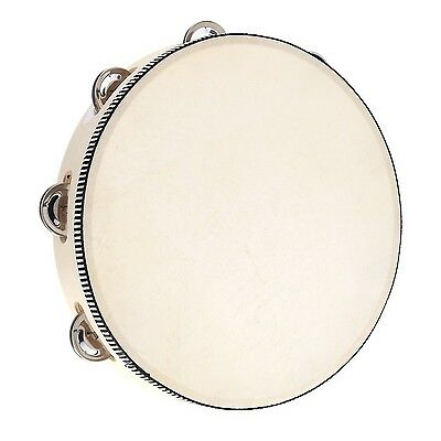 "Andoer 10"" Hand Held Tambourine Drum Bell Birch Metal Jingles Percussion Musi..."