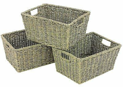 WoodLuv Seagrass Storage Shelf Basket with Insert Handles Set of 3