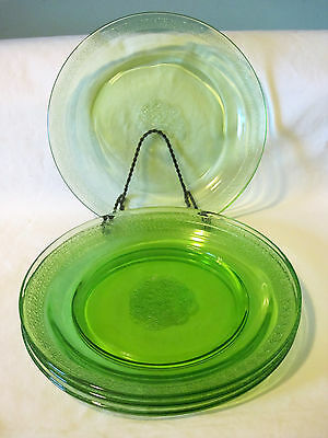 """Federal Green Depression Glass Georgian-Green 9 1/4"""" Dinner Plates Dishes"""