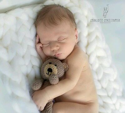 Newborn baby crochet teddy bear toy photo photography prop