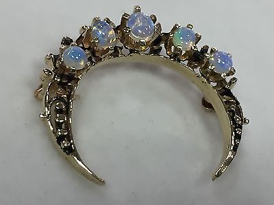 Vintage 14k Yellow Gold Opal Crescent Moon Brooch Pin - Gorgeous