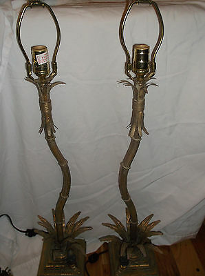 Pair Vintage Antique Brass Tone Metal Table Lamps With Monkeys