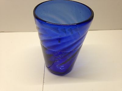 Cobalt blue small swirled drinking glass - Indiana Glass?