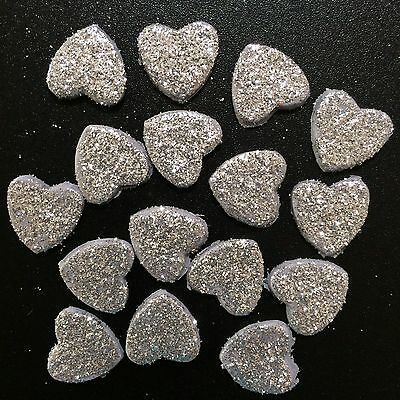 Edible Sugar Love Hearts With Edible Glitter Wedding Cake / Cup Cake Toppers X15