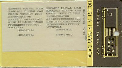 CDS LETTERING - No. HO-151 - IN PASS DATA DECALS - NOS
