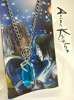 USA Seller Cosplay Final Fantasy Yuna Blue Gem Necklace