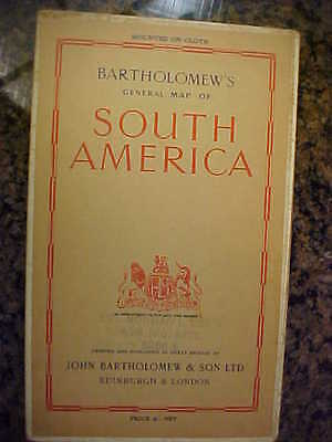 Bartholomew's Map Of South America - Mounted On Cloth - Printed In Great Britain