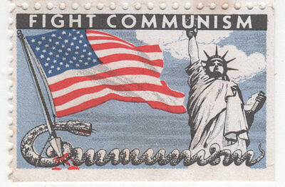 Set of 5 Vintage FIGHT COMMUNISM Statue of Liberty CAUSE American Flag Stamps