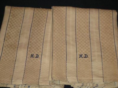 2 Antique French Linen Hand Kitchen Dish Towels - Table Runners - Tan w/ Blue