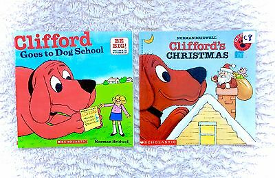 Vintage Clifford The Big Red Dog Book Lot Paperback Christmas Goes To School