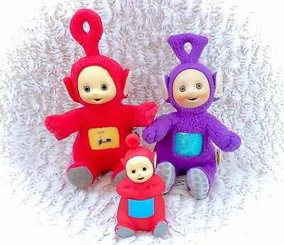 Vintage Teletubbies Lot Of Plush Stuffed Soft Dolls & PVC Po Tinky Winky 90s TV