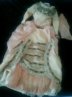 Imperfect Antique Lady French Fashion Doll Dress Victorian Bustle Authentic OLD