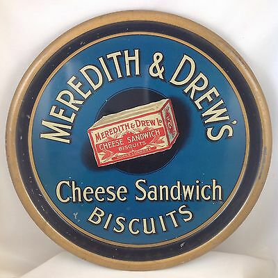 MEREDITH & DREW'S CHEESE SANDWICH BISCUITS METAL PUB SERVING TRAY c1910 ENGLAND