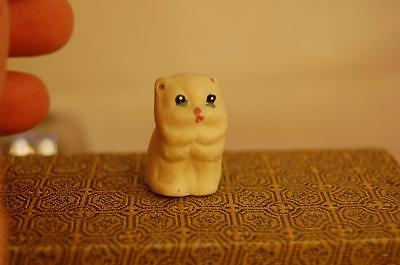 Vintage Thimble White Kitty Cat Blue Eyes Ceramic Porcelain  -S