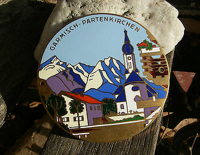vintage, german GARMISCH - PARTENKIRCHEN BAVARIA BAVARIAN ALPS enamel car Badge