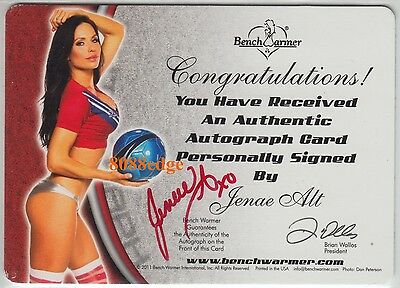 2012 Benchwarmer Soccer Dual Auto: Jenae Alt 1/1 Printing Plate Red Autograph