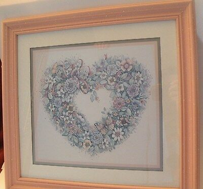 Beautiful Home Interior  Heart Flower Wreath PICTURE, HOMCO, Heart Pictures,