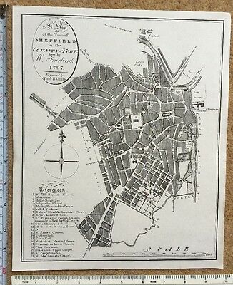 """Old Antique map of Sheffield, England: 1700's, 1797 11.5 x 9.5"""": Reprint"""