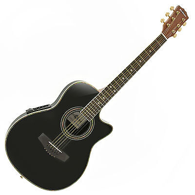 New Roundback Electro Acoustic Guitar by Gear4music, Black