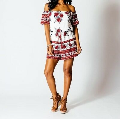 BNWT Floral Choker Style Top Red/Wine/White Size 8-14 & Matching Playsuit