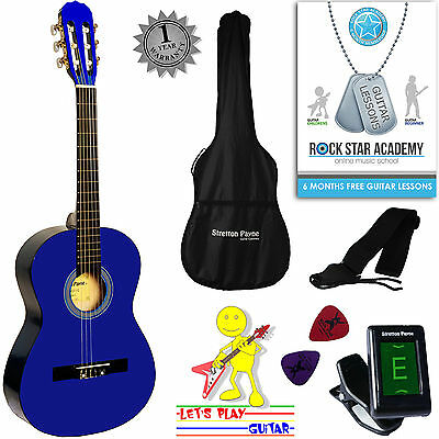 3/4 Size Nylon String Classical Child Kids Childrens Guitar Package Blue