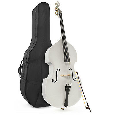 New Student 3/4 Double Bass with Case & Bow, White by Gear4music