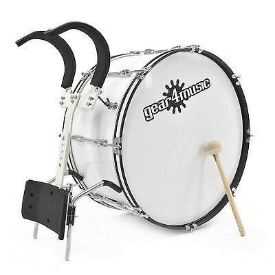"New 24"" X 12"" Marching Bass Drum with Carrier, by Gear4music"