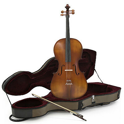 New Student 4/4 Size Cello with Case, Antique Fade, by Gear4music