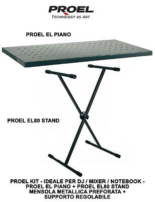 Proel Kit EL PIANO + EL80 Mensola + Stand regolabile per Dj, Mixer e Notebook