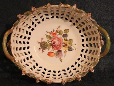 Large Early Antique Dresden Carl Thieme Potschappel Reticulated Pierced Basket
