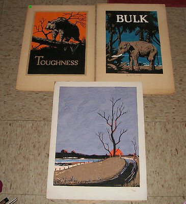 Lot of 3 Original Paintings by Leon Benard School for Disabled Soldiers WW1 Vet