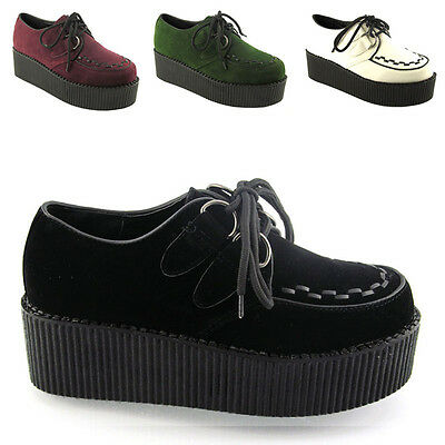 b184ee1f02d Ladies Lace Up Flat Double Platform Womens Goth Creepers Punk Wedge Shoes  Size