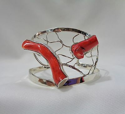 Unique Hand Crafted 925 Silver and Natural  Coral Cuff Bangle -