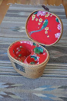 Antique Chinese Famille Traveling Tea Lined Basket Metal Handles and Hardware