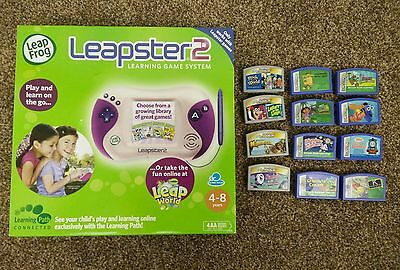 Leap Frog Leapster 2 Pink Learning Game System (NEW) + 12 Used Game Cartridges