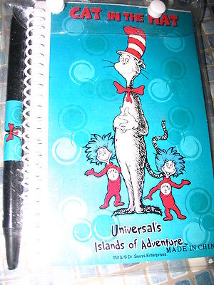 Dr Seuss Cat In The Hat Notebook & Pen Islands Of Adventure - Brand New