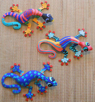 "Hand Painted Set Of 3 Wall Hanging Metal Art Geckos Each Gecko Is 8"" Wide"