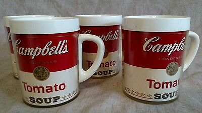 Vintage Thermo Serv Campbell's Tomato Soup Plastic Cups West Bend Set of 4