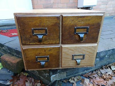 Vintage Wooden 4 Draw Index Card Filing Cabinet In Excellent Vintage Condition