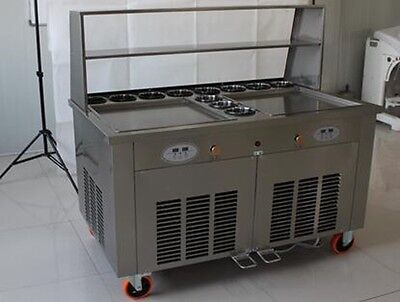 Double Square Pan Roll Fried Ice Cream Thai Machine w 11 Compartments Vending