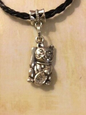 HANDMADE Chinese Lucky Waving Cat Black Faux Leather Bracelet - Cat Metal charm