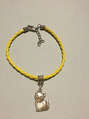 NEW HANDMADE  Yellow Faux Leather Cat Bracelet with Cat Kitten metal charm